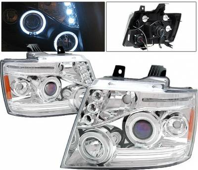 Headlights & Tail Lights - Headlights - 4 Car Option - Chevrolet Tahoe 4 Car Option LED Halo Projector Headlights - Chrome - LP-CTA07CB-5