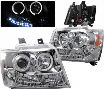 Headlights & Tail Lights - Headlights - 4 Car Option - Chevrolet Avalanche 4 Car Option LED Halo Projector Headlights - Chrome - LP-CTA07CC-YD