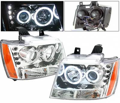 Headlights & Tail Lights - Headlights - 4 Car Option - Chevrolet Tahoe 4 Car Option LED Halo Projector Headlights - Chrome - LP-CTA07CF-KS