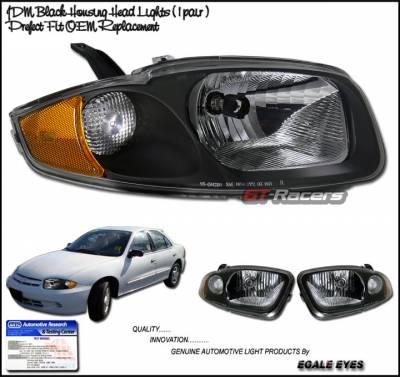 Headlights & Tail Lights - Headlights - Custom Disco - Chevrolet Cavalier Custom Disco Black Headlights - LH-CAV03JM-KS