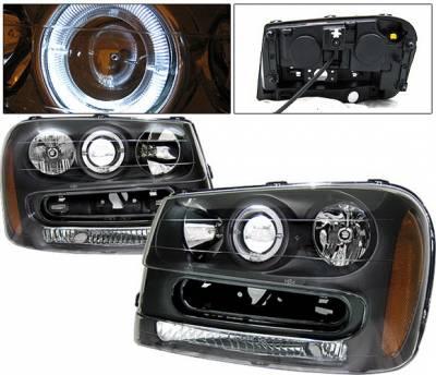 Headlights & Tail Lights - Headlights - 4 Car Option - Chevrolet Trail Blazer 4 Car Option Halo Projector Headlights - Black - LP-CTB02BC-KS