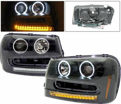 Headlights & Tail Lights - Headlights - 4 Car Option - Chevrolet Trail Blazer 4 Car Option Halo Projector Headlights - Black CCFL - LP-CTB02BF-KS