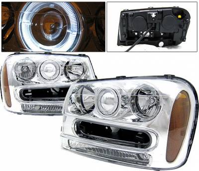 Headlights & Tail Lights - Headlights - 4 Car Option - Chevrolet Trail Blazer 4 Car Option Halo Projector Headlights - Chrome - LP-CTB02CC-KS