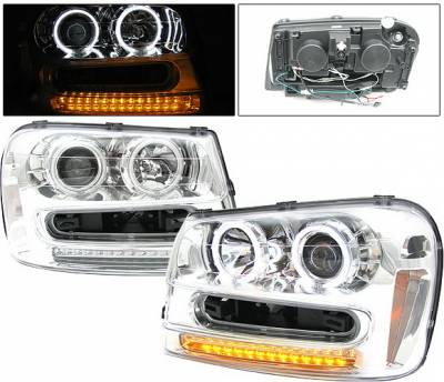 Headlights & Tail Lights - Headlights - 4 Car Option - Chevrolet Trail Blazer 4 Car Option Halo Projector Headlights - Chrome CCFL - LP-CTB02CF-KS