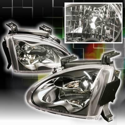 Headlights & Tail Lights - Headlights - Custom Disco - Honda Del Sol Custom Disco JDM Black Crystal Headlights - LH-DEL93JM