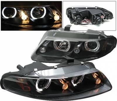 Headlights & Tail Lights - Headlights - 4 Car Option - Dodge Avenger 4 Car Option Halo Projector Headlights - Black - LP-DAV97BC-YD
