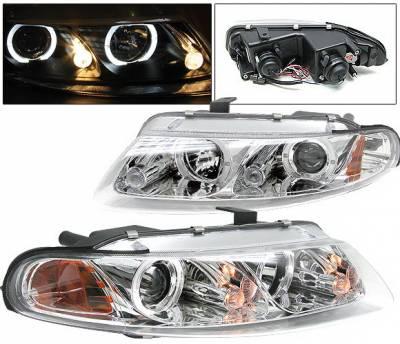 Headlights & Tail Lights - Headlights - 4 Car Option - Dodge Avenger 4 Car Option Halo Projector Headlights - Chrome - LP-DAV97CC-YD