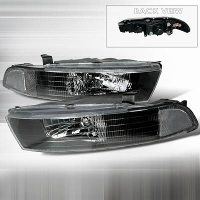 Headlights & Tail Lights - Headlights - Custom Disco - Mitsubishi Galant Custom Disco JDM Black Headlights - LH-GAL99JM-KS
