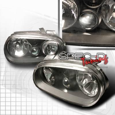 Headlights & Tail Lights - Headlights - Custom Disco - Volkswagen Golf Custom Disco JDM Black Headlights - LH-GLF99JM-DP