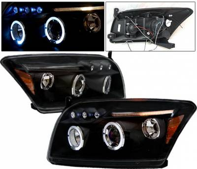 Headlights & Tail Lights - Headlights - 4 Car Option - Dodge Caliber 4 Car Option LED Dual Halo Projector Headlights - Black - LP-DCAB06BB-5
