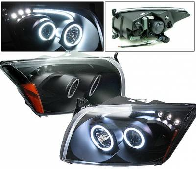 Headlights & Tail Lights - Headlights - 4 Car Option - Dodge Caliber 4 Car Option CCFL Halo LED Projector Headlights - Black - LP-DCAB06BF-KS