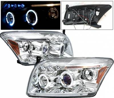 Headlights & Tail Lights - Headlights - 4 Car Option - Dodge Caliber 4 Car Option LED Dual Halo Projector Headlights - Chrome - LP-DCAB06CB-5