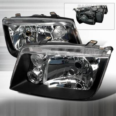 Headlights & Tail Lights - Headlights - Custom Disco - Volkswagen Jetta Custom Disco JDM Black Headlights - LH-JET99JM-KS
