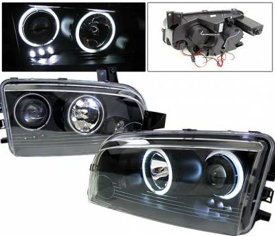 Headlights & Tail Lights - Headlights - 4 Car Option - Dodge Charger 4 Car Option Halo Projector Headlights - Black CCFL - LP-DCHAR05BB-KS