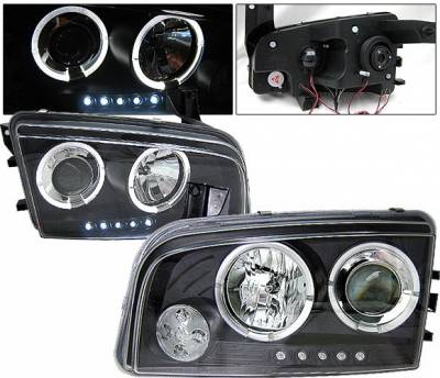 Headlights & Tail Lights - Headlights - 4 Car Option - Dodge Charger 4 Car Option Halo Projector Headlights - Black - LP-DCHAR05BC-YD