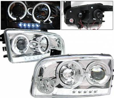 Headlights & Tail Lights - Headlights - 4 Car Option - Dodge Charger 4 Car Option Halo Projector Headlights - Chrome - LP-DCHAR05CC-YD