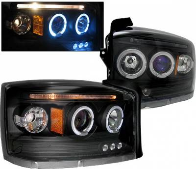 Headlights & Tail Lights - Headlights - 4 Car Option - Dodge Dakota 4 Car Option LED Halo Projector Headlights - Black - LP-DD05BB-5