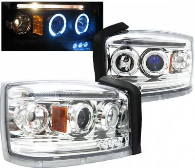 Headlights & Tail Lights - Headlights - 4 Car Option - Dodge Dakota 4 Car Option LED Halo Projector Headlights - Chrome - LP-DD05CB-5