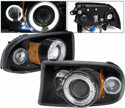 Headlights & Tail Lights - Headlights - 4 Car Option - Dodge Dakota 4 Car Option LED Halo Projector Headlights - Black - LP-DD97BC-YD