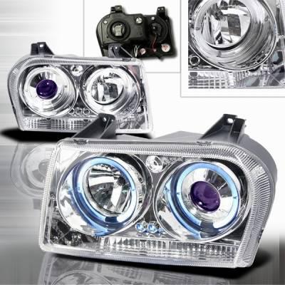 Headlights & Tail Lights - Headlights - Custom Disco - Chrysler 300 Custom Disco Chrome Projector Headlights - LHP-30005B-YD