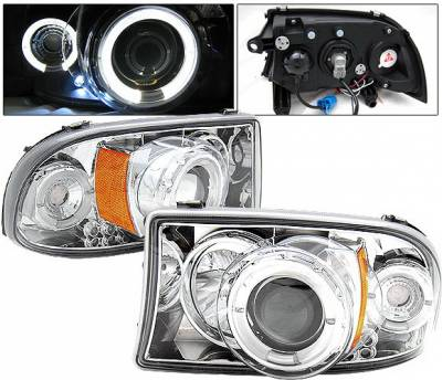 Headlights & Tail Lights - Headlights - 4 Car Option - Dodge Dakota 4 Car Option LED Halo Projector Headlights - Chrome - LP-DD97CC-YD