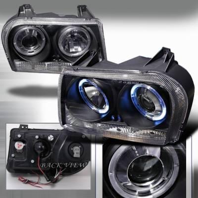 Headlights & Tail Lights - Headlights - Custom Disco - Chrysler 300 Custom Disco Black Projector Headlights - LHP-30005JM-YD