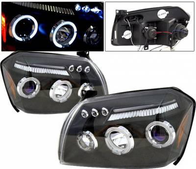 Headlights & Tail Lights - Headlights - 4 Car Option - Dodge Magnum 4 Car Option LED Dual Halo Projector Headlights - Black - LP-DGMAG05BC-5