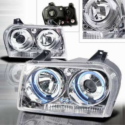 Headlights & Tail Lights - Headlights - Custom Disco - Chrysler 300 Custom Disco Chrome Halo LED Projector Headlights - LHP-30005-YD