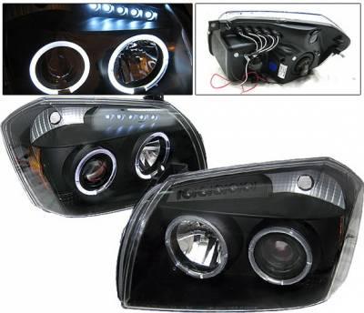 Headlights & Tail Lights - Headlights - 4 Car Option - Dodge Magnum 4 Car Option Halo LED Projector Headlights - Black - LP-DGMAG05BC-YD