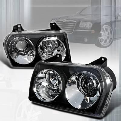 Headlights & Tail Lights - Headlights - Custom Disco - Chrysler 300 Custom Disco Black Projector Headlights - LHP-300C05JM-TM
