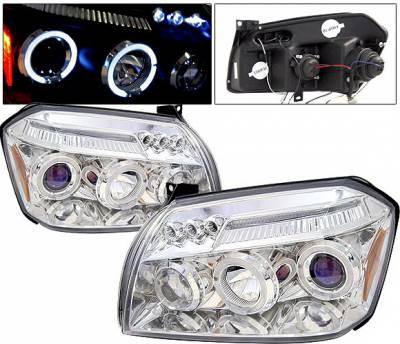Headlights & Tail Lights - Headlights - 4 Car Option - Dodge Magnum 4 Car Option LED Dual Halo Projector Headlights - Chrome - LP-DGMAG05CC-5