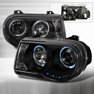 Headlights & Tail Lights - Headlights - Custom Disco - Chrysler 300 Custom Disco Black Halo LED Projector Headlights - LHP-300C05JM-YD