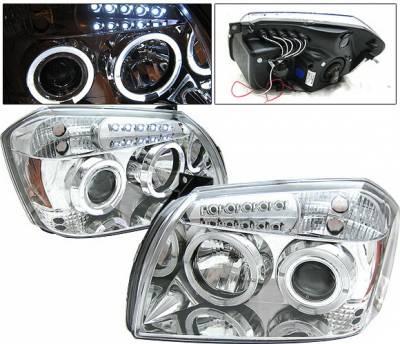 Headlights & Tail Lights - Headlights - 4 Car Option - Dodge Magnum 4 Car Option Halo LED Projector Headlights - Chrome - LP-DGMAG05CC-YD