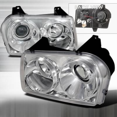 Headlights & Tail Lights - Headlights - Custom Disco - Chrysler 300 Custom Disco Chrome Projector Headlights - LHP-300C05-TM