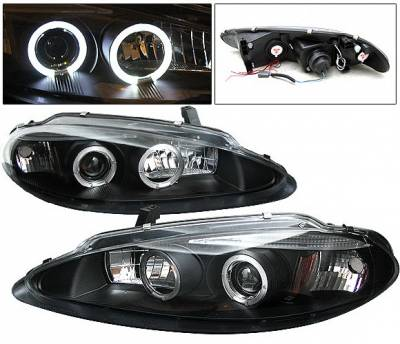 Headlights & Tail Lights - Headlights - 4 Car Option - Dodge Intrepid 4 Car Option Halo Projector Headlights - Black - LP-DI98BC-YD