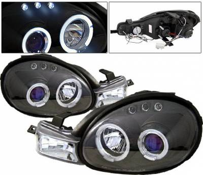 Headlights & Tail Lights - Headlights - 4 Car Option - Dodge Neon 4 Car Option LED Halo Projector Headlights - Black - LP-DN00BC-5