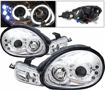 Headlights & Tail Lights - Headlights - 4 Car Option - Dodge Neon 4 Car Option LED Halo Projector Headlights - Chrome - LP-DN00CC-YD