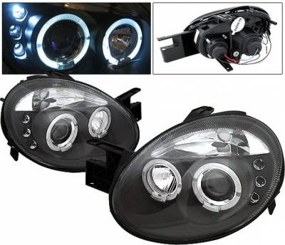 Headlights & Tail Lights - Headlights - 4 Car Option - Dodge Neon 4 Car Option LED Halo Projector Headlights - Black - LP-DN03BC-5