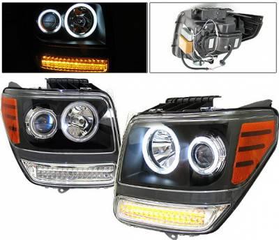 Headlights & Tail Lights - Headlights - 4 Car Option - Dodge Nitro 4 Car Option Halo Projector Headlights - Version 2 - Black CCFL - LP-DNR072BB-KS