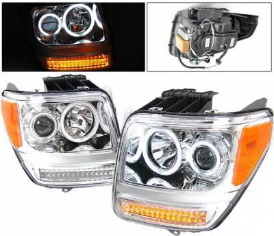 Headlights & Tail Lights - Headlights - 4 Car Option - Dodge Nitro 4 Car Option Halo Projector Headlights - Version 2 - Chrome CCFL - LP-DNR072CB-KS