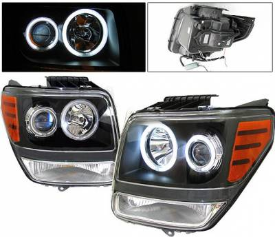 Headlights & Tail Lights - Headlights - 4 Car Option - Dodge Nitro 4 Car Option Halo Projector Headlights - Black CCFL - LP-DNR07BB-KS