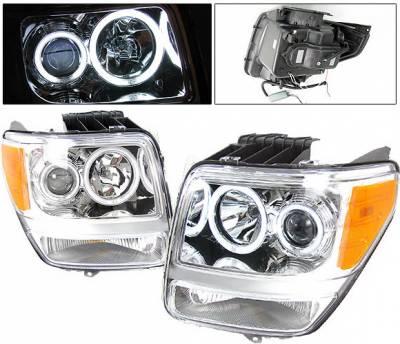 Headlights & Tail Lights - Headlights - 4 Car Option - Dodge Nitro 4 Car Option Halo Projector Headlights - Chrome CCFL - LP-DNR07CB-KS
