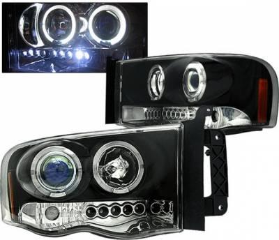 Headlights & Tail Lights - Headlights - 4 Car Option - Dodge Ram 4 Car Option Halo Projector Headlights - Black - 1PC - LP-DR02BB-5
