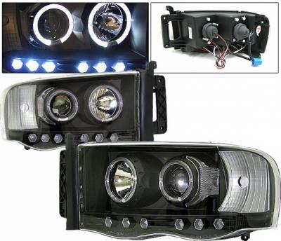 Headlights & Tail Lights - Headlights - 4 Car Option - Dodge Ram 4 Car Option Halo Projector Headlights - Black - 1PC - LP-DR02BB-YD