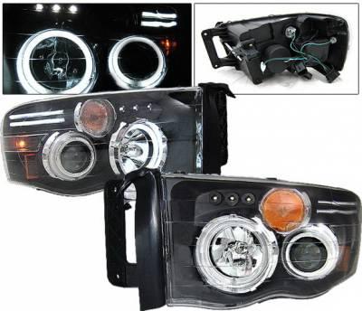 Headlights & Tail Lights - Headlights - 4 Car Option - Dodge Ram 4 Car Option Halo Projector Headlights - Black CCFL - 1PC - LP-DR02BC-KS-CCFL