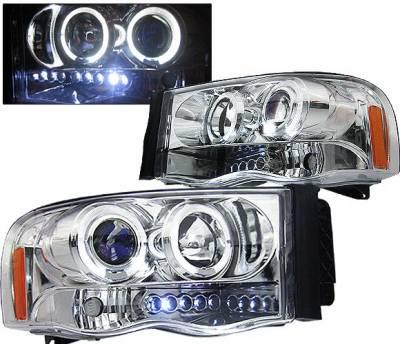 Headlights & Tail Lights - Headlights - 4 Car Option - Dodge Ram 4 Car Option Halo Projector Headlights - Chrome - 1PC - LP-DR02CB-5