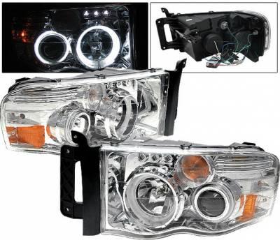 Headlights & Tail Lights - Headlights - 4 Car Option - Dodge Ram 4 Car Option Halo Projector Headlights - Chrome CCFL - 1PC - LP-DR02CC-KS-CCFL