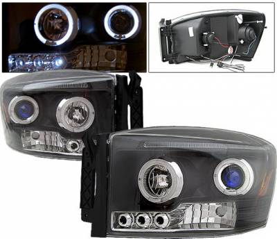 Headlights & Tail Lights - Headlights - 4 Car Option - Dodge Ram 4 Car Option Halo LED Projector Headlights - Black - 1PC - LP-DR06BB-5
