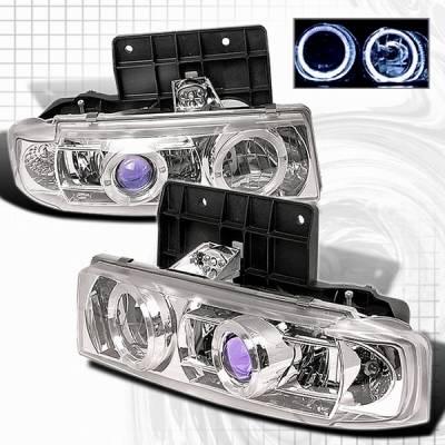 Headlights & Tail Lights - Headlights - Custom Disco - GMC Safari Custom Disco Clear Halo Projector Headlights - LHP-AST95B-YD