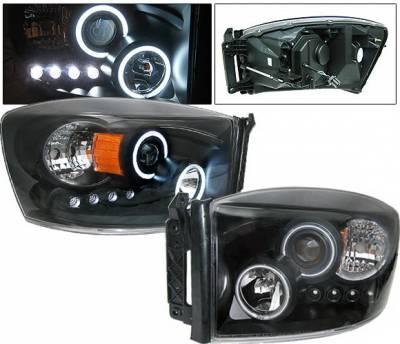 Headlights & Tail Lights - Headlights - 4 Car Option - Dodge Ram 4 Car Option LED Halo Projector Headlights - Black CCFL - 1PC - LP-DR06BC-KS